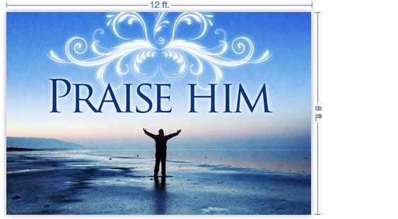 Custom All Stars >> SermonView - Praise Him - The Sea - 12x8 Stage Backdrop
