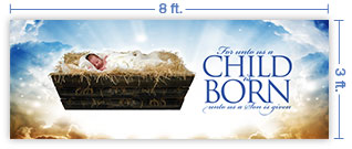 8x3 Horizontal Church Banner of A Child Is Born