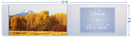 12x3 Horizontal Church Banner of Autumn 5