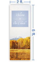 2x5 Vertical Church Banner of Autumn 5