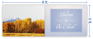 8x3 Horizontal Church Banner of Autumn 5