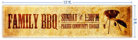 12x3 Horizontal Church Banner of B B Q