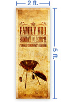 2x5 Vertical Church Banner of B B Q