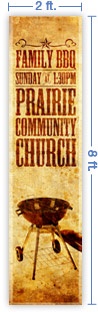 2x8 Vertical Church Banner of B B Q