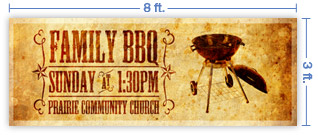 8x3 Horizontal Church Banner of B B Q