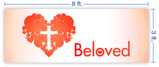 8x3 Horizontal Church Banner of Beloved
