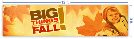 12x3 Horizontal Church Banner of Big Things Fall