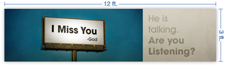 12x3 Horizontal Church Banner of Billboard