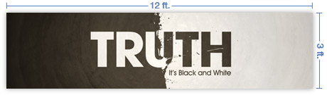 12x3 Horizontal Church Banner of Black And White