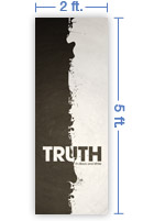 2x5 Vertical Church Banner of Black And White