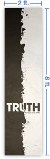 2x8 Vertical Church Banner of Black And White