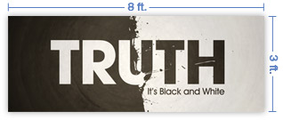 8x3 Horizontal Church Banner of Black And White