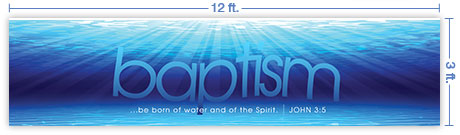 12x3 Horizontal Church Banner of Born of Water