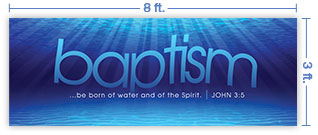 8x3 Horizontal Church Banner of Born of Water