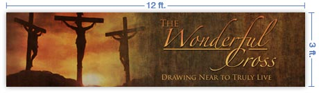 12x3 Horizontal Church Banner of Calvary