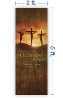 2x5 Vertical Church Banner of Calvary
