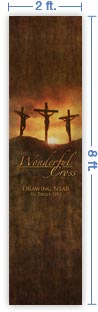2x8 Vertical Church Banner of Calvary