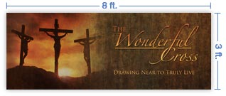 8x3 Horizontal Church Banner of Calvary