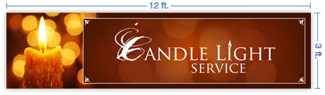12x3 Horizontal Church Banner of Candle Light Service