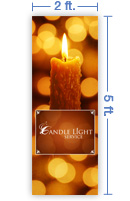 2x5 Vertical Church Banner of Candle Light Service