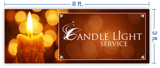 8x3 Horizontal Church Banner of Candle Light Service