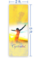 2x5 Vertical Church Banner of Captivated