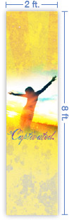 2x8 Vertical Church Banner of Captivated