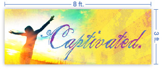 8x3 Horizontal Church Banner of Captivated
