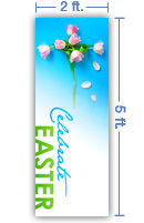 2x5 Vertical Church Banner of Celebrate Easter