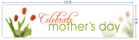 12x3 Horizontal Church Banner of Celebrate Mother's Day