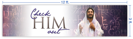 12x3 Horizontal Church Banner of Check Him Out