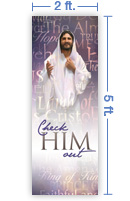 2x5 Vertical Church Banner of Check Him Out