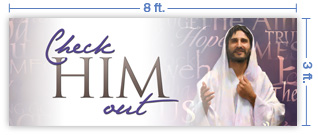 8x3 Horizontal Church Banner of Check Him Out