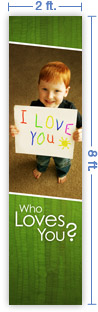 2x8 Vertical Church Banner of Child's Heart