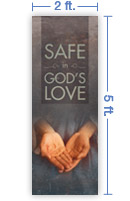 2x5 Vertical Church Banner of Christ's Hand Valentine