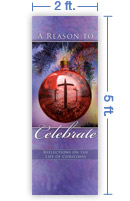 2x5 Vertical Church Banner of Christmas Ball