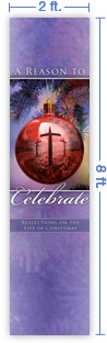 2x8 Vertical Church Banner of Christmas Ball