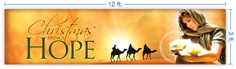 12x3 Horizontal Church Banner of Christmas Hope