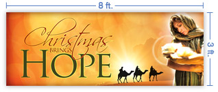 8x3 Horizontal Church Banner of Christmas Hope