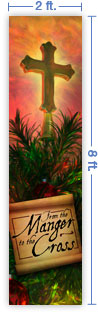 2x8 Vertical Church Banner of Christmas Tree