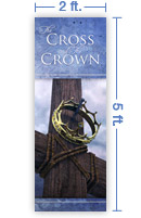2x5 Vertical Church Banner of Cross & Crown