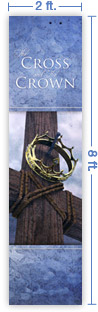 2x8 Vertical Church Banner of Cross & Crown