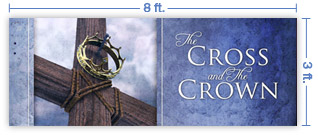 8x3 Horizontal Church Banner of Cross & Crown