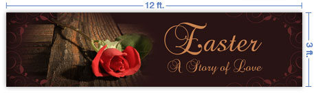 12x3 Horizontal Church Banner of Cross & Rose