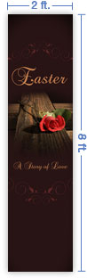 2x8 Vertical Church Banner of Cross & Rose