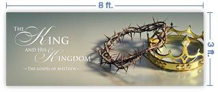 8x3 Horizontal Church Banner of Crowns