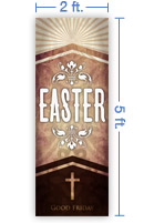 2x5 Vertical Church Banner of Easter Cross