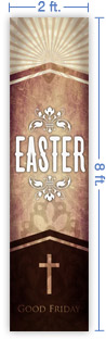 2x8 Vertical Church Banner of Easter Cross