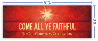8x3 Horizontal Church Banner of Faithful