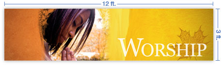 12x3 Horizontal Church Banner of Fall Worship